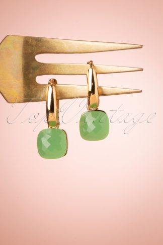 50s Cushion Cut Earrings in Pacific Green