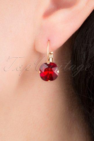 50s Cushion Cut Stone Earrings in Ruby Red