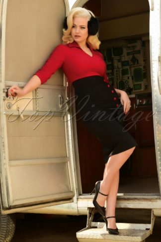 50s Damcy Pencil Dress in Black and Red
