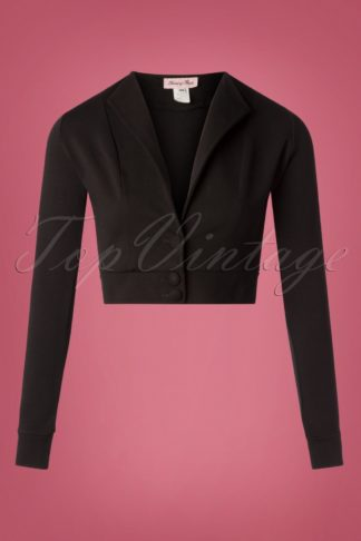 50s Dapper Cropped Blazer in Black