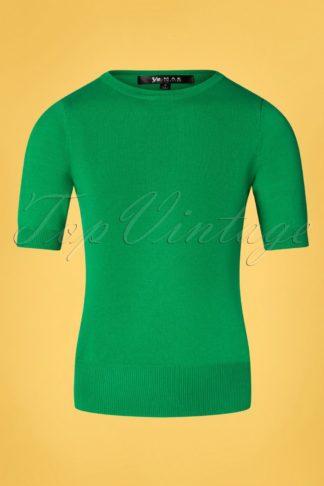 50s Debbie Short Sleeve Sweater in Grass Green