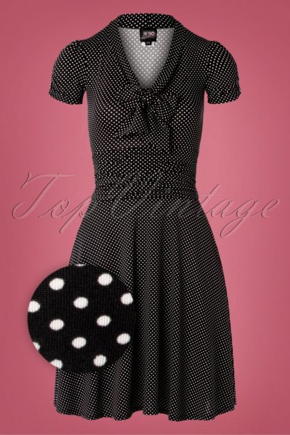 50s Debra Pin Dot Swing Dress in Black