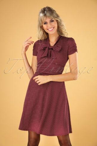 50s Debra Pin Dot Swing Dress in Burgundy