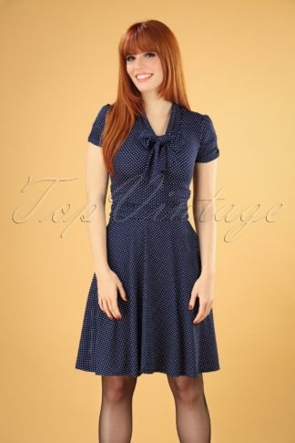 50s Debra Pin Dot Swing Dress in Navy