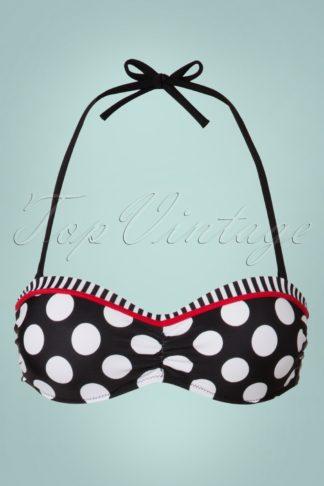 50s Debra Polkadot Stripes Halter Bikini Top in Black and White