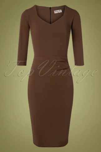 50s Denise Pencil Dress in Rocky Road Brown