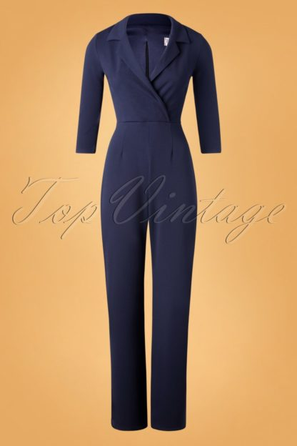 50s Denysa Jumpsuit in Navy
