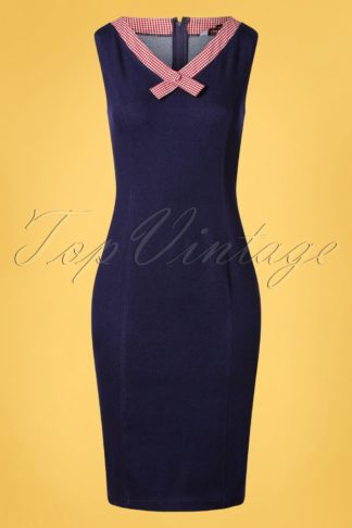50s Diner Days Pencil Dress in Denim Blue