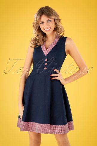50s Diner Days Swing Dress in Denim Blue