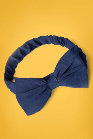 50s Dionne Bow Head Band in Navy
