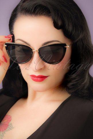 50s Dita Cat Eye Sunglasses in Black and Gold