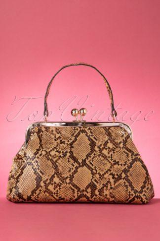 50s Doris Snake Bag in Brown