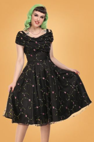 50s Dorothy Floral Rose Swing Dress in Black