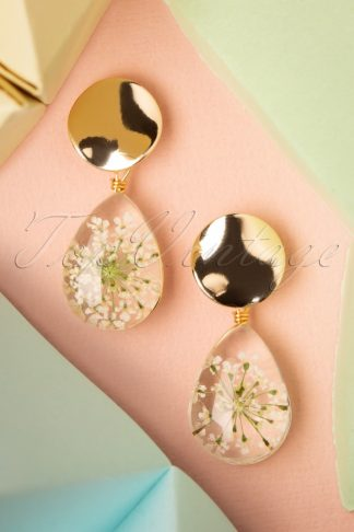 50s Dried Flowers Drop Earrings in White