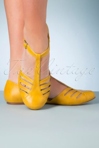 50s Edie T-Strap Flats in Mustard Yellow