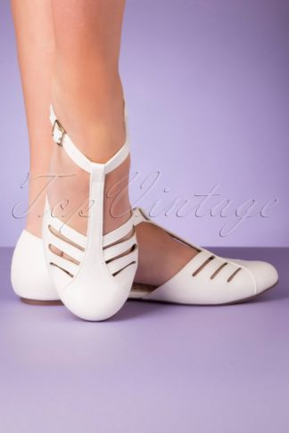 50s Edie T-Strap Flats in White