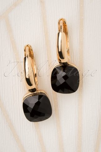 50s Eleanor Earrings in Black and Gold