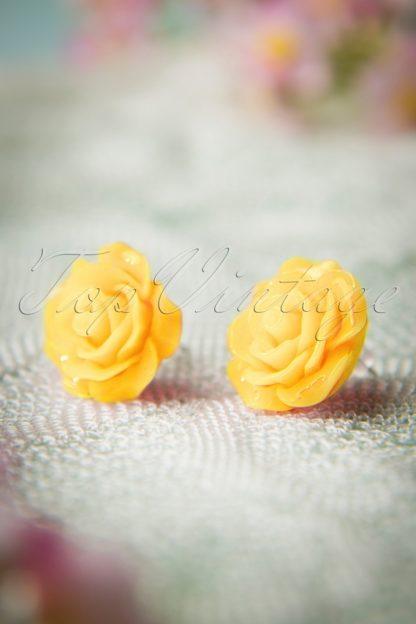 50s English Rose Earstuds in Yellow