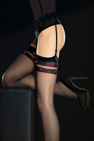 50s Eternal Hearts Stockings in Black