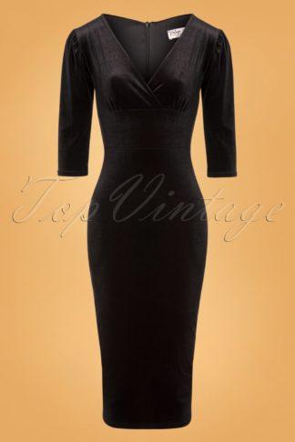 50s Everleigh Velvet Pencil Dress in Black