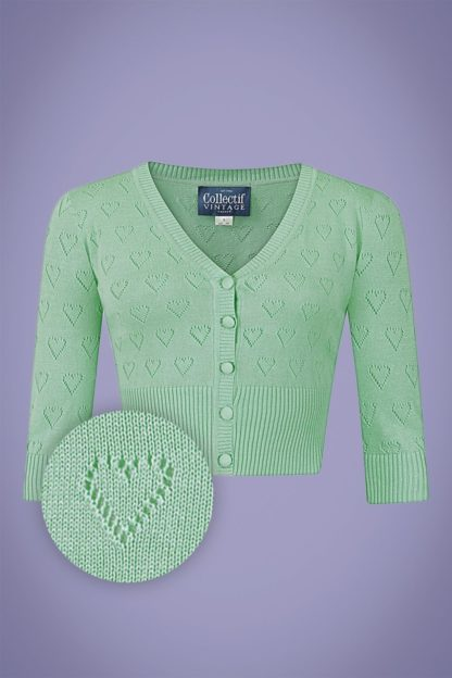 50s Evie Heart Cardigan in Mint Green