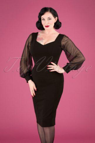 50s Felicity Pencil Dress in Black