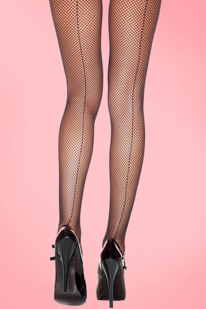 50s Fishnet Back Seam Tights in Black