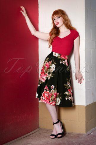 50s Flora Floral Thrills Skirt in Black
