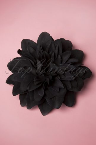 50s Flower Hair Clip & Brooch in Black