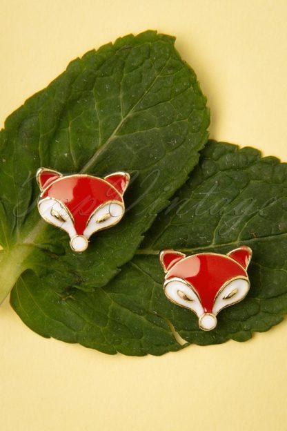 50s Foxy Stud Earrings in Red