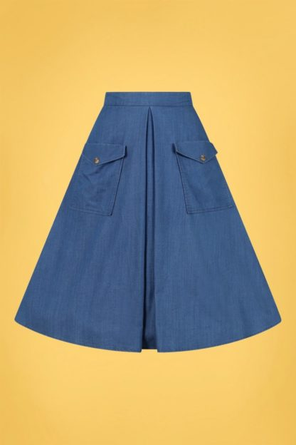50s Freddie Skirt in Denim Blue