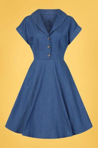 50s Freddie Swing Dress in Denim Blue
