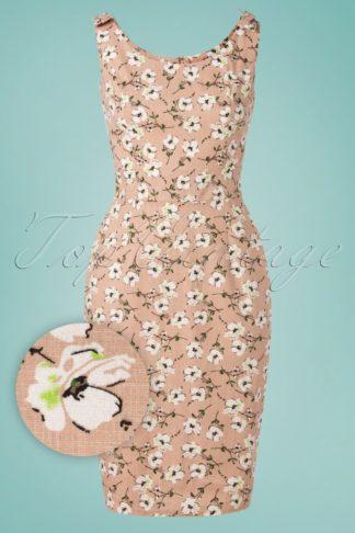 50s Fresh Bloom Pencil Dress in Dusty Nude