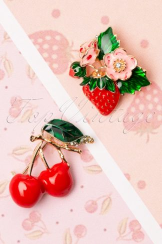 50s Fruity Brooch Set in Red