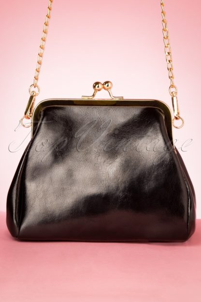 50s Geneviève Gold Framed Bag in Black