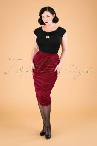 50s Gia Velvet Bodycon Pencil Skirt in Red
