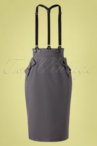 50s Gina Bow Suspender Pencil Skirt in Grey