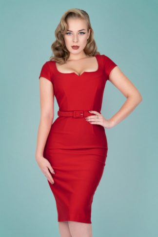50s Gina Pencil Dress in Red