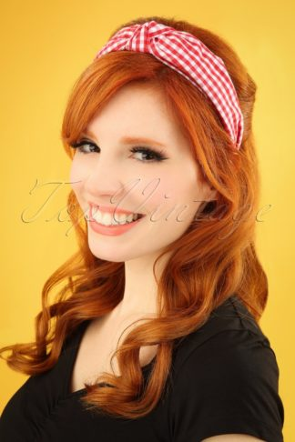 50s Gingham Head Band in Red and White
