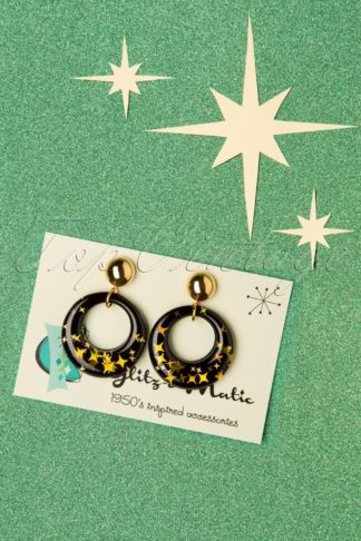 50s Glitter Star Hoop Earrings in Black and Gold