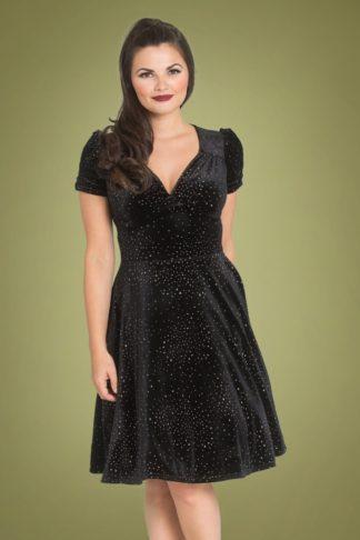 50s Glitterbelle Swing Dress in Black