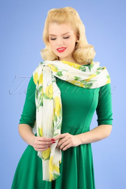50s Gloria Lemon Scarf in White