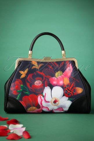 50s Glorious Floral Retro Handbag in Black