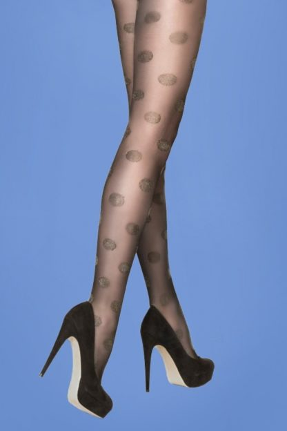 50s Gold Lurex Dots Tights in Black