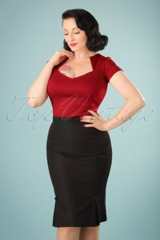 50s Guideing Light Pencil Skirt in Black