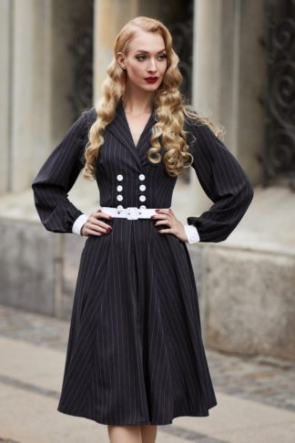 50s Gwyneth Bishop Sleeve Swing Dress in Navy
