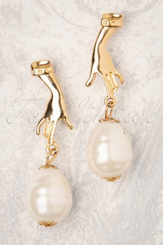 50s Hands Off My Pearl Earrings in Gold