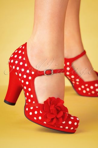 50s Hannah Polkadot Pumps in Red