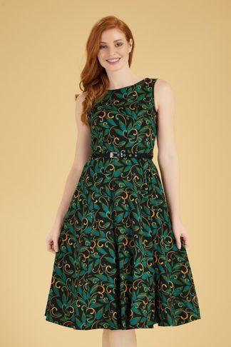 50s Hepburn Deco Swing Dress in Black