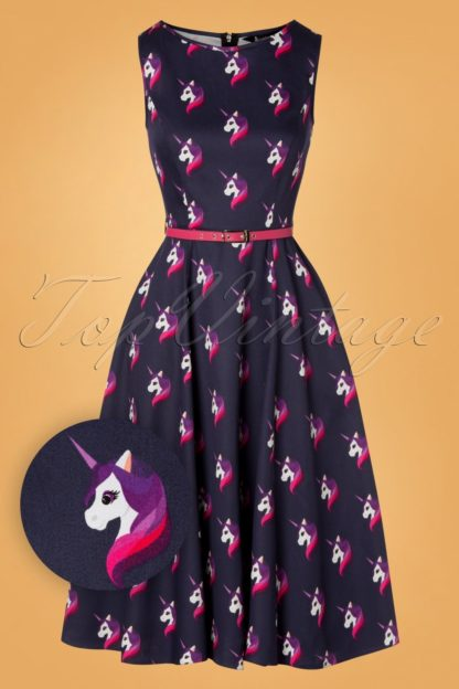 50s Hepburn Unicorn Swing Dress in Midnight Purple